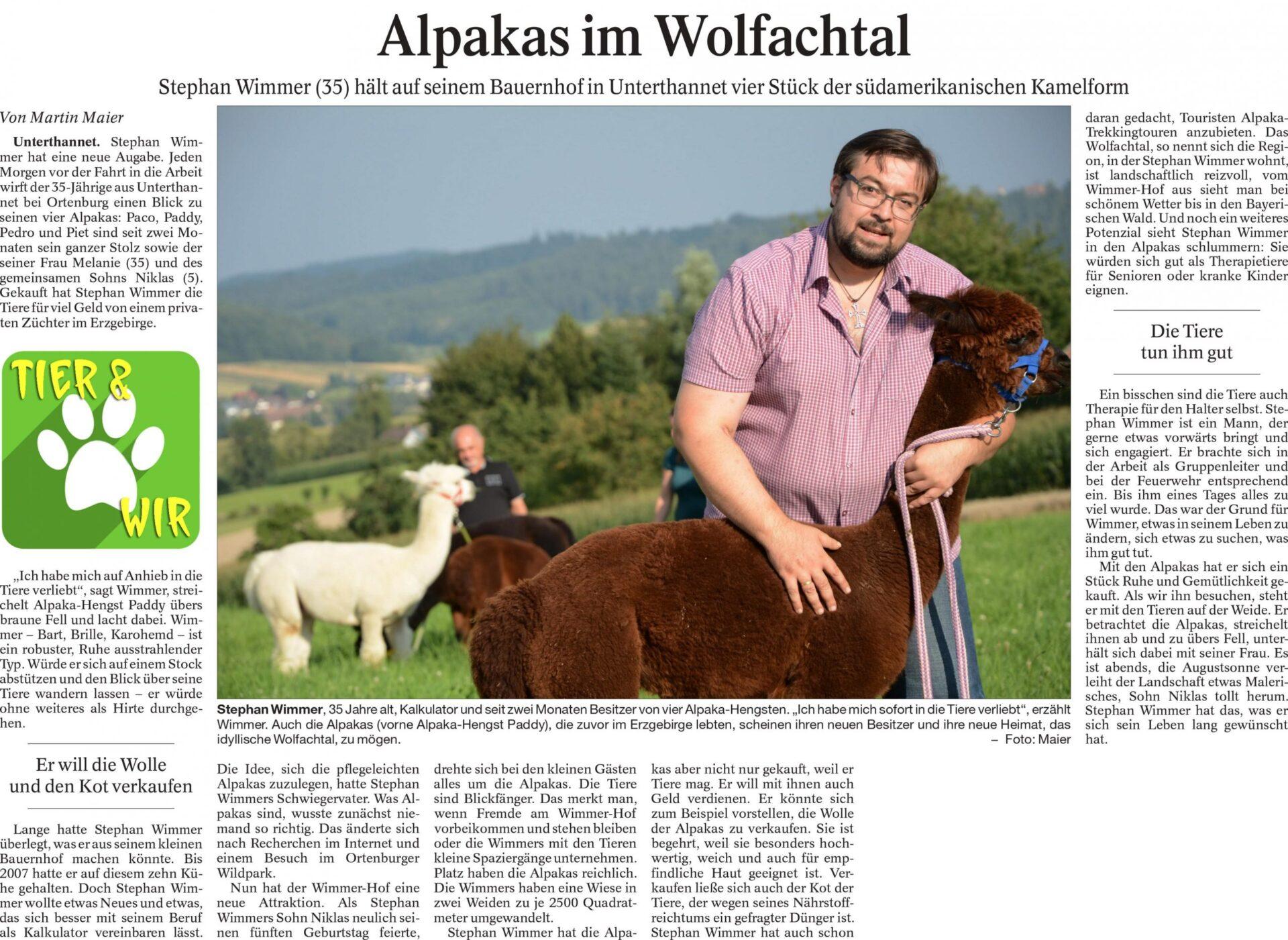 Zeitungsbericht des Vilshofener Anzeigers vom 15.08.2014