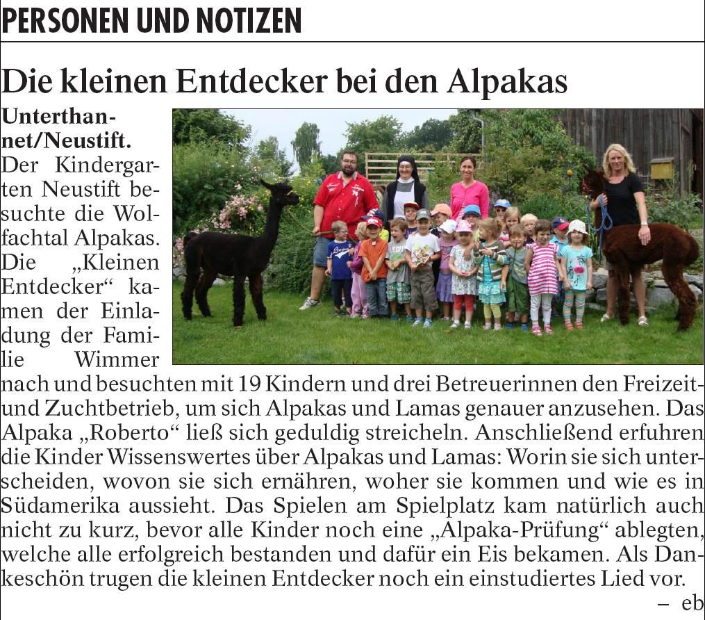 Zeitungsbericht des Vilshofener Anzeigers vom 16.07.2015