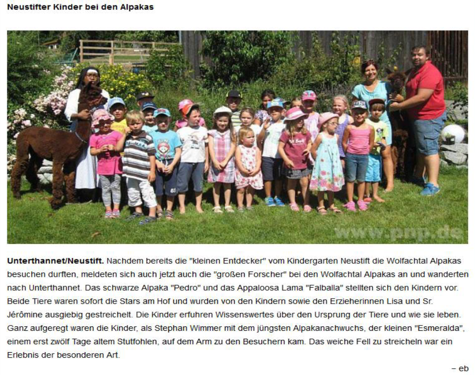 Zeitungsbericht des Vilshofener Anzeigers vom 30.07.2015