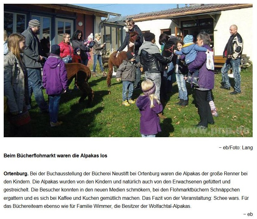 Zeitungsbericht des Vilshofener Anzeigers vom 28.10.2015