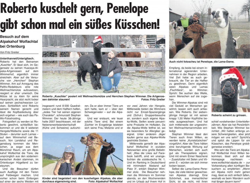 Bericht in der Passauer neuen Woche (PaWo) vom 21.12.2016